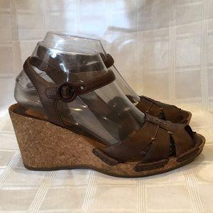 Clarks Artisan Copper Cork Wedge Sandals